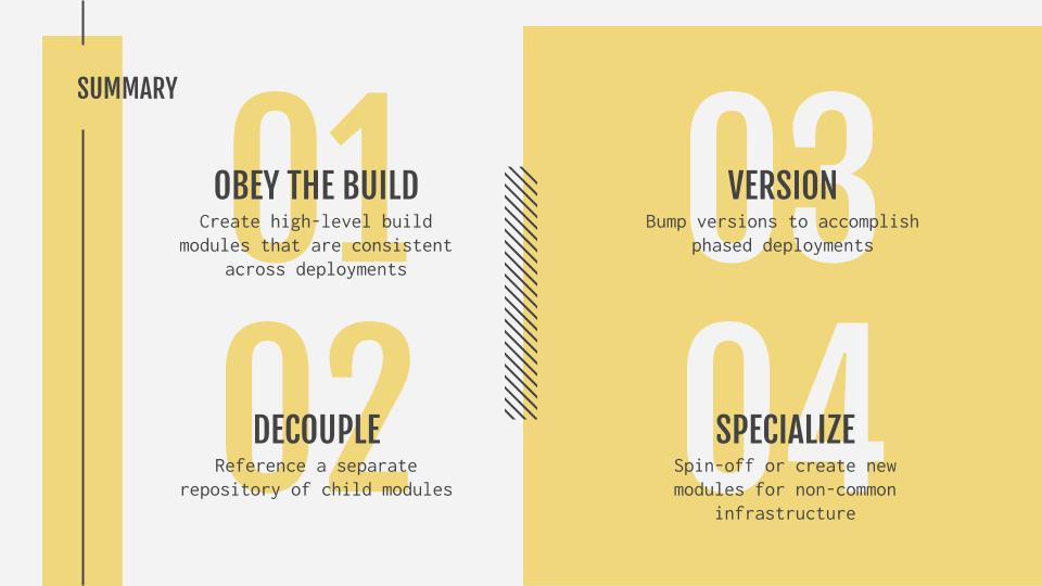 obey the build, decouple, version, specialize