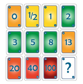A set of agile planning poker cards, with the point values: 0, 1/2, 1, 3, 5, 8, 13, 20, 40, 100, and a question mark