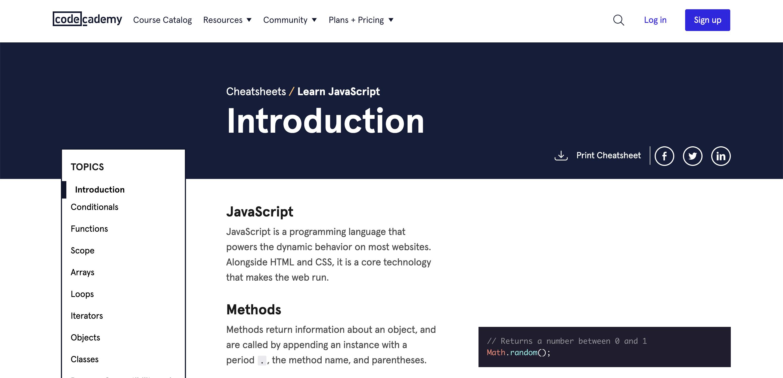 codecademy cheatsheets learn javascript